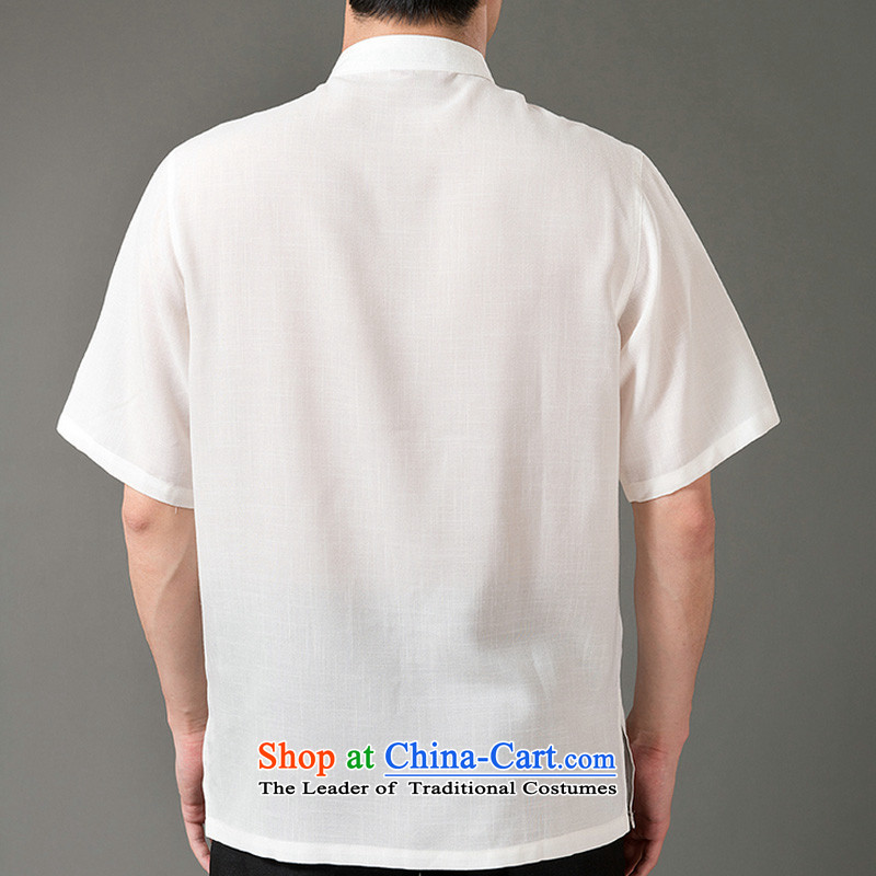 Boris poem federation short-sleeved Tang dynasty in Tang Dynasty elderly men by 2015 summer, emulation silk Tang blouses manually disc detained national costumes Chinese collar Tang Dynasty poem Bob XL/175, beige Federation (lianbangbos) , , , shopping on
