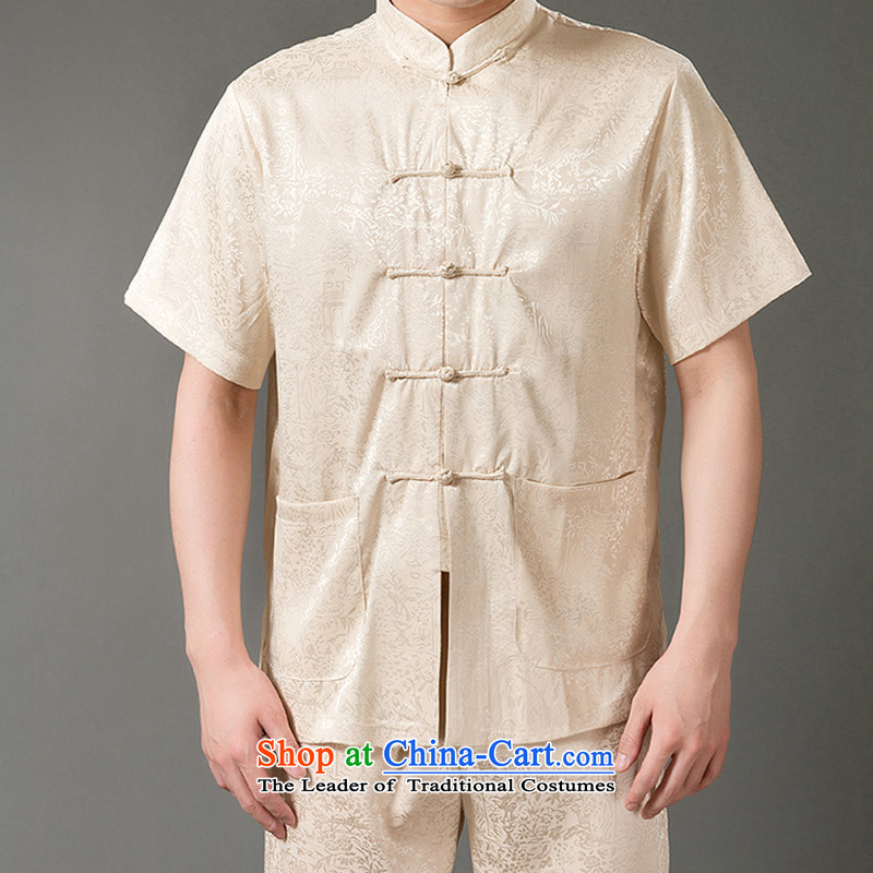 Boris poem federation short-sleeved Tang Dynasty Package for men and elderly men Tang dynasty 2015 Summer_ Emulation silk Tang hand-held national costumes Chinese Tang dynasty collar XXXXL_190 Beige