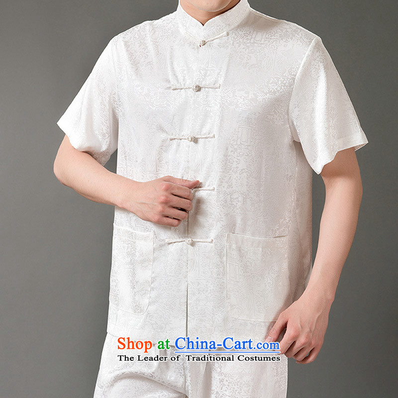 Boris poem federation short-sleeved Tang Dynasty Package for men and elderly men Tang dynasty 2015 Summer) Emulation silk Tang hand-held national costumes Chinese collar Tang Dynasty poem Bob XXXXL/190, beige Federation (lianbangbos) , , , shopping on the