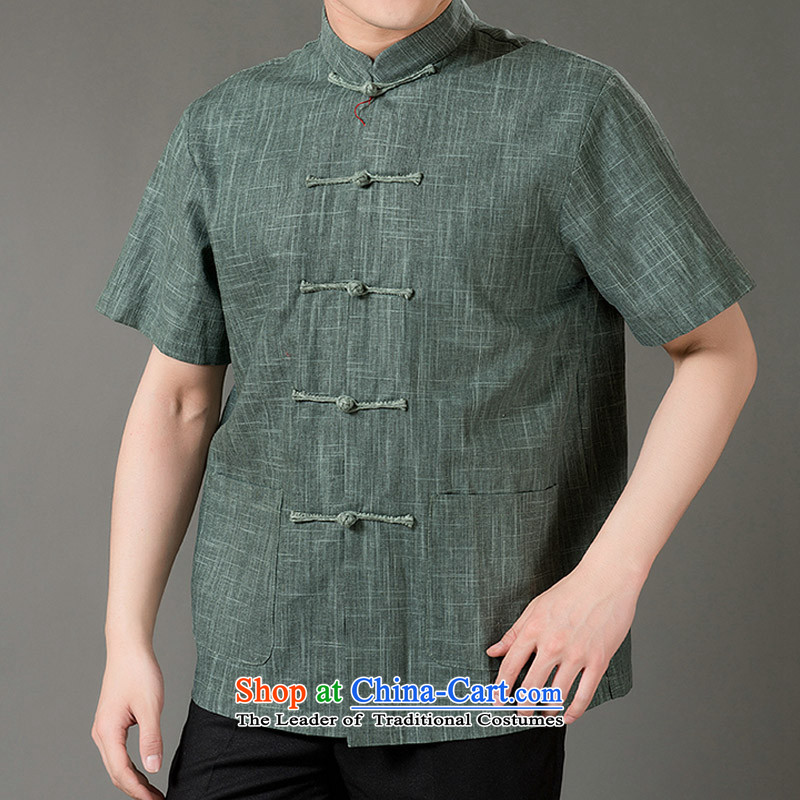 Boris poem federation short-sleeved Tang dynasty in Tang Dynasty elderly men�by 2015, Mr Ronald Tang linen blouses manually disc detained national costumes Chinese Tang dynasty collar Ma Tei�M/165 green