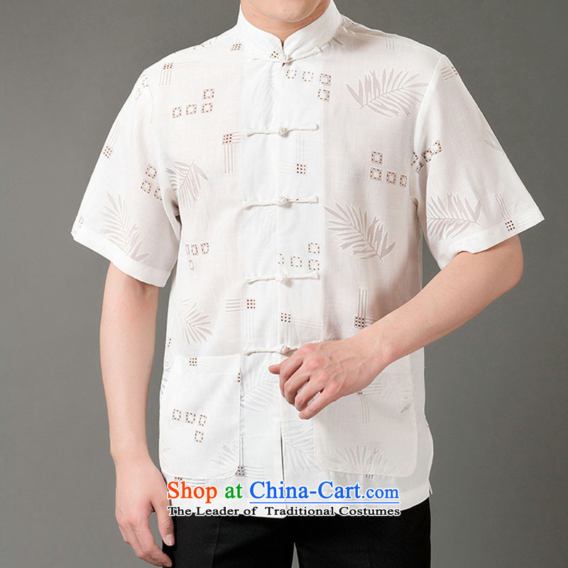 Boris poem federation short-sleeved Tang dynasty in Tang Dynasty elderly men by 2015 summer, emulation silk Tang blouses manually disc detained national costumes Chinese Tang dynasty white collar M_165