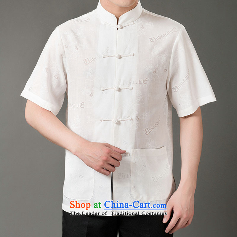 Boris poem federation short-sleeved Tang dynasty in Tang Dynasty elderly men聽by 2015 summer, emulation silk Tang blouses manually disc detained national costumes Chinese Tang dynasty white collar聽XXL_180