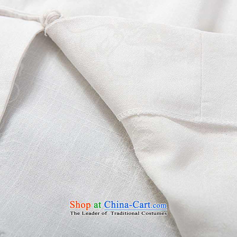 Boris poem federation short-sleeved Tang dynasty in Tang Dynasty elderly men by 2015 summer, emulation silk Tang blouses manually disc detained national costumes Chinese Tang dynasty white collar XXL/180, Federation Bao Shi (lianbangbos) , , , shopping on