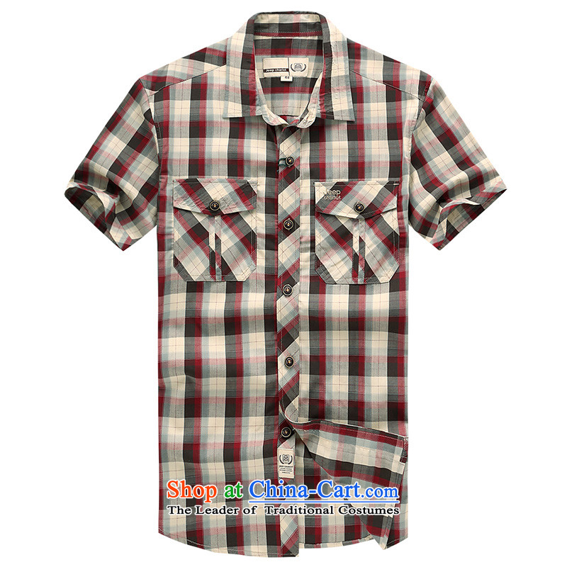 Jeep chariot outdoor leisure short-sleeved shirt JP631 RED?XXL