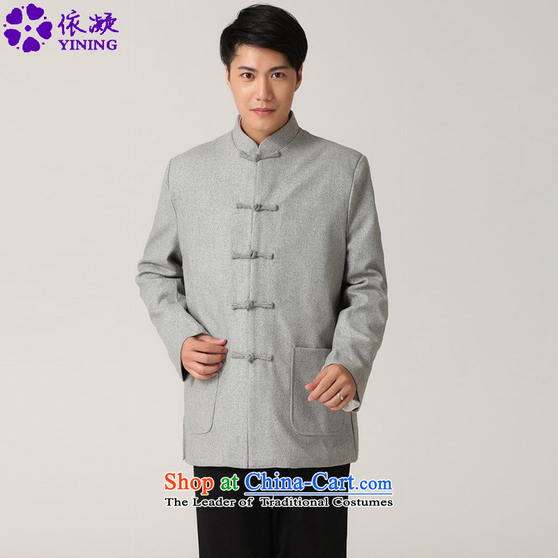 In accordance with the stylish new fuser men of ethnic Chinese tunic improved solid color word collar detained father replacing Tang jackets?WNS/2398# - 1 Gray?2XL