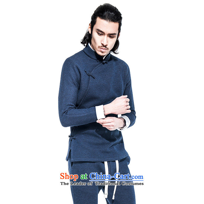 Seventy-tang China wind air layer continued (A/51/708 trim is pressed to disc detained men Han-Tang Dynasty Chinese jacket improved retro blue?L?pre-sale 7 day shipping