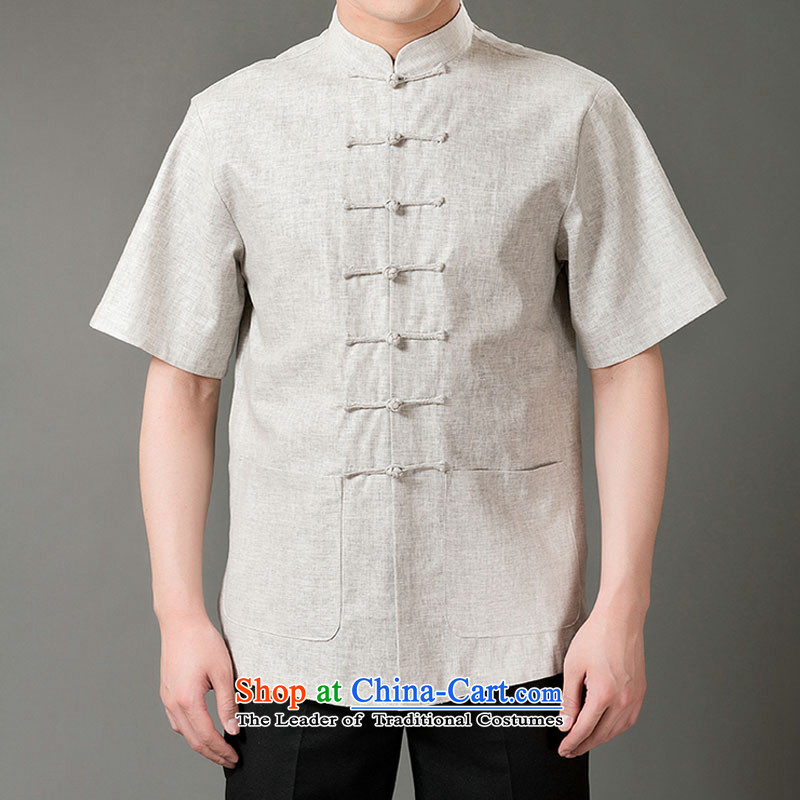 Boris poem federation short-sleeved Tang dynasty in older 7 tie Tang dynasty?2015 summer, cotton linen Tang blouses manually disc detained national costumes Chinese Tang dynasty collar?M_165 Light Gray