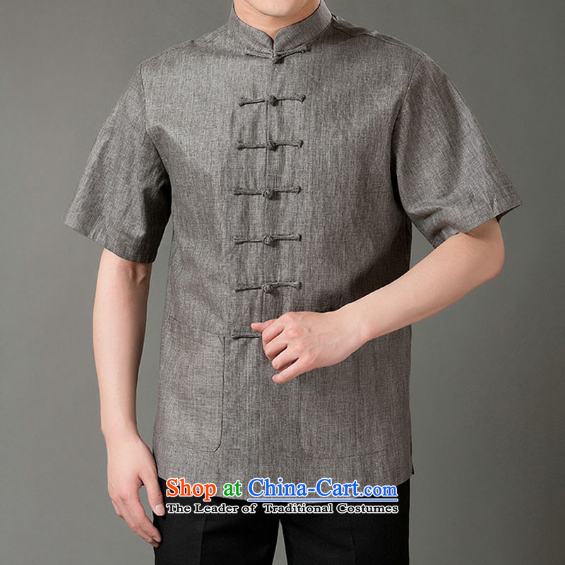 Boris poem federation short-sleeved Tang dynasty in older 7 tie Tang dynasty2015 summer, cotton linen Tang blouses manually disc detained national costumes Chinese Tang dynasty collar light grayM/165, Federation Bao Shi (lianbangbos) , , , shopping on t