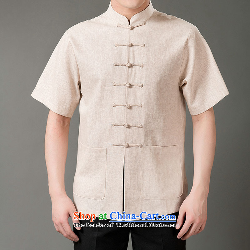 Boris poem federation short-sleeved Tang dynasty in older 7 tie Tang dynasty聽2015 summer, cotton linen Tang blouses manually disc detained national costumes Chinese Tang dynasty collar light gray聽M/165, Federation Bao Shi (lianbangbos) , , , shopping on t
