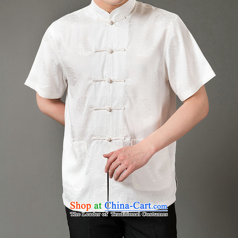 Boris poem federation short-sleeved Tang dynasty in Tang Dynasty elderly men by 2015 summer, emulation silk Tang blouses manually disc detained national costumes Chinese Tang dynasty white collar L/170