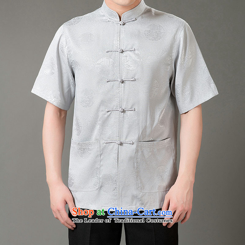 Boris poem federation short-sleeved Tang dynasty in Tang Dynasty elderly men by 2015 summer, emulation silk Tang blouses manually disc detained national costumes Chinese Tang dynasty white collar L/170, Federation Bao Shi (lianbangbos) , , , shopping on t
