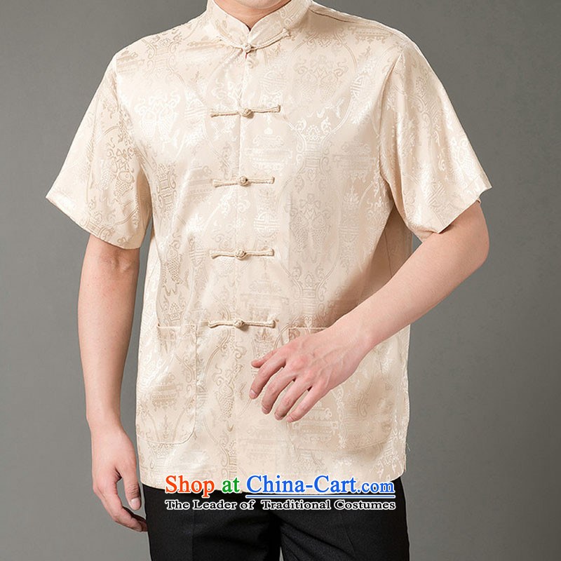 Boris poem federation short-sleeved Tang dynasty in Tang Dynasty elderly men by 2015 summer, emulation silk Tang blouses manually disc detained national costumes Chinese Tang dynasty collar M_165 Beige