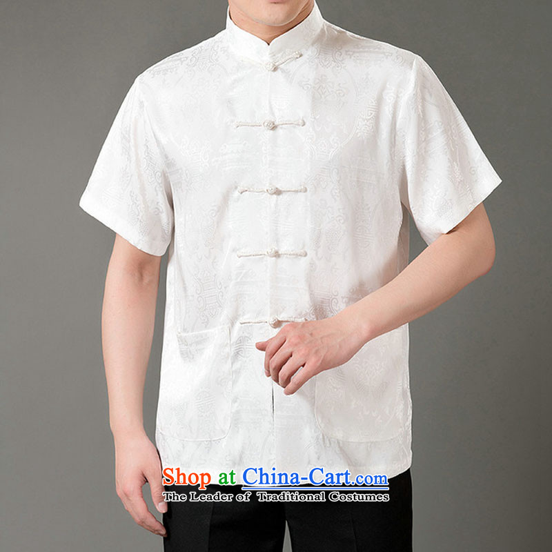 Boris poem federation short-sleeved Tang dynasty in Tang Dynasty elderly men by 2015 summer, emulation silk Tang blouses manually disc detained national costumes Chinese collar Tang Dynasty poem Bob M/165, beige Federation (lianbangbos) , , , shopping on