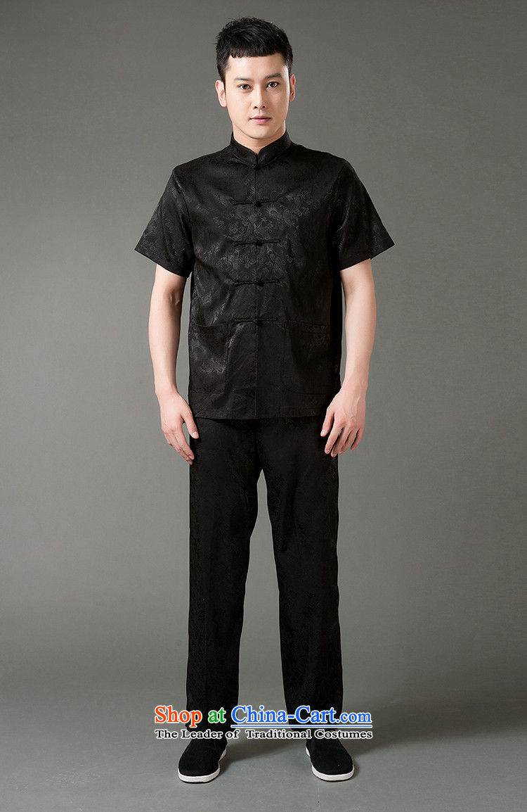 Boris poem federation short-sleeved Tang Dynasty Package for men and elderly men Tang dynasty 2015 Summer) Emulation silk Tang hand-held national costumes Chinese Tang dynasty collar XXL/180 black picture, prices, brand platters! The elections are supplied in the national character of distribution, so action, buy now enjoy more preferential! As soon as possible.