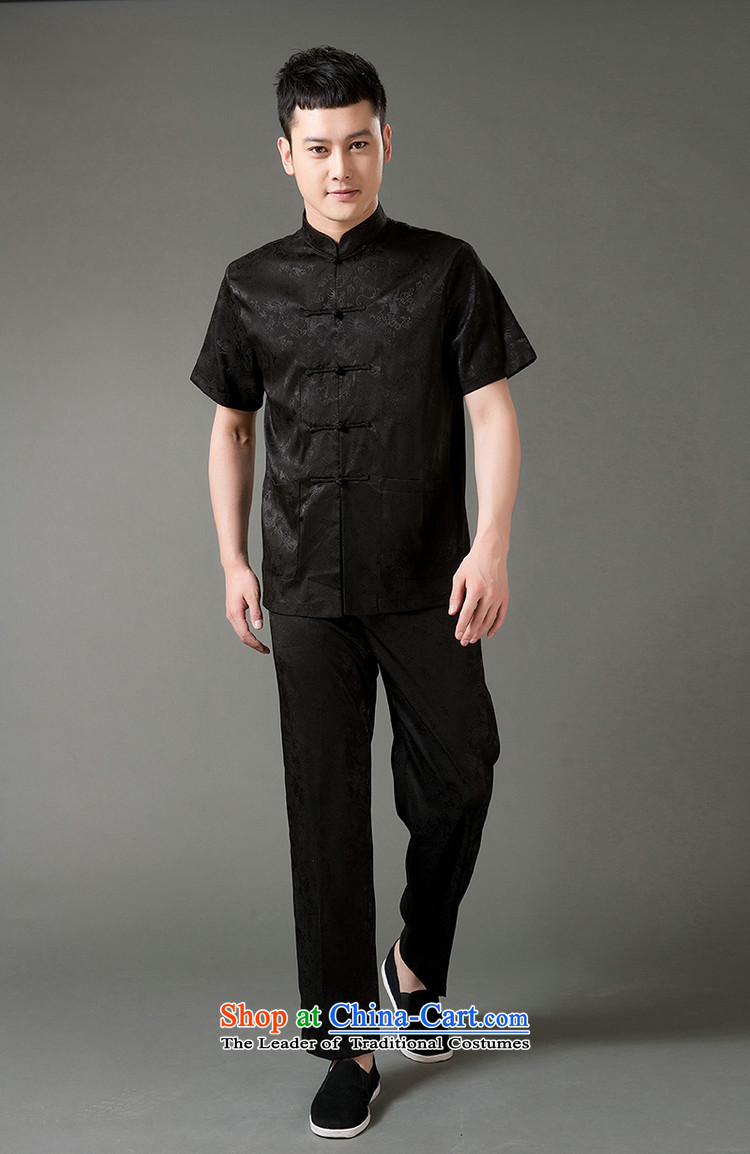 Boris poem federation short-sleeved Tang Dynasty Package for men and elderly men Tang dynasty2015 Summer) Emulation silk Tang hand-held national costumes Chinese Tang dynasty collarXXL/180 black picture, prices, brand platters! The elections are supplied in the national character of distribution, so action, buy now enjoy more preferential! As soon as possible.
