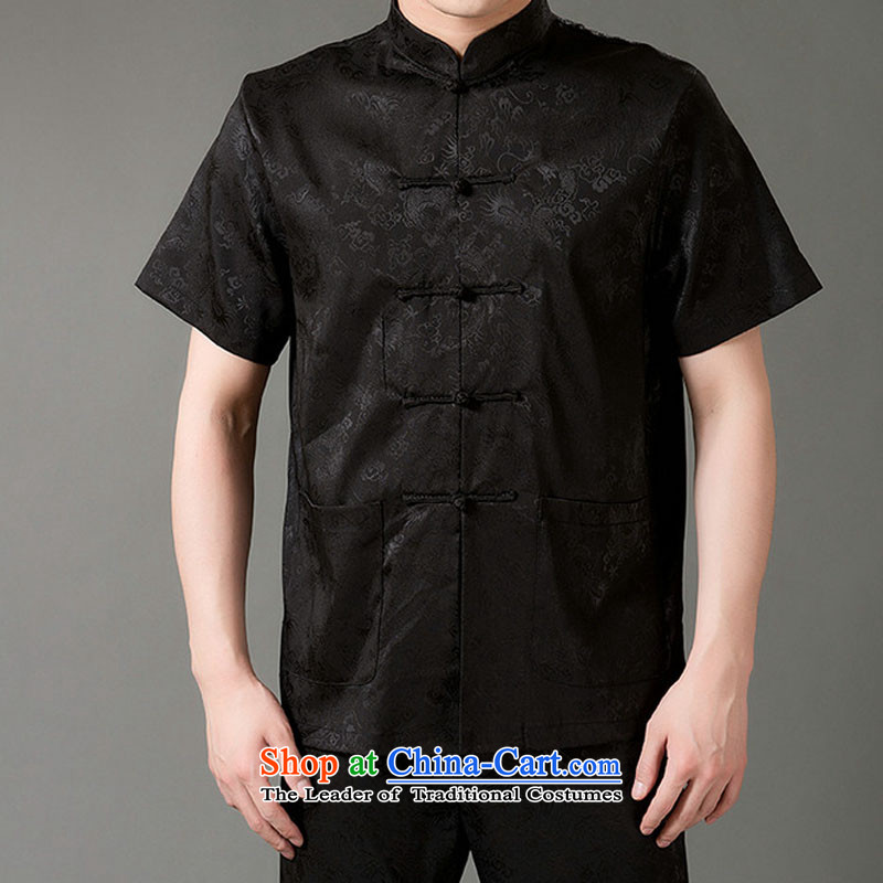 Boris poem federation short-sleeved Tang Dynasty Package for men and elderly men Tang dynasty�15 Summer_ Emulation silk Tang hand-held national costumes Chinese collar black燲XL_180 Tang