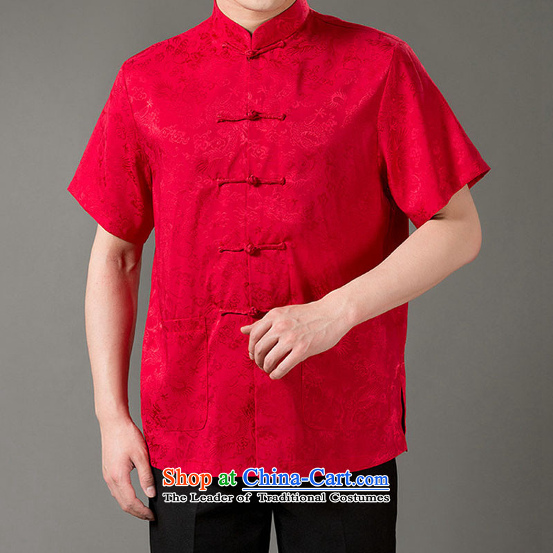 Boris poem federation short-sleeved Tang dynasty in Tang Dynasty elderly men聽by 2015 summer, emulation silk Tang blouses manually disc detained national costumes Chinese collar red聽XL_175 Tang