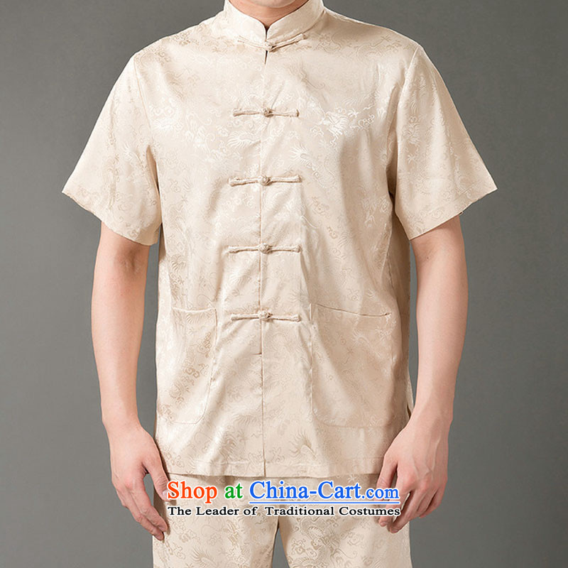 Boris poem federation short-sleeved Tang dynasty in Tang Dynasty elderly men by 2015 summer, emulation silk Tang blouses manually disc detained national costumes Chinese collar red XL/175, Tang poetry (lianbangbos Boris federation) , , , shopping on the I