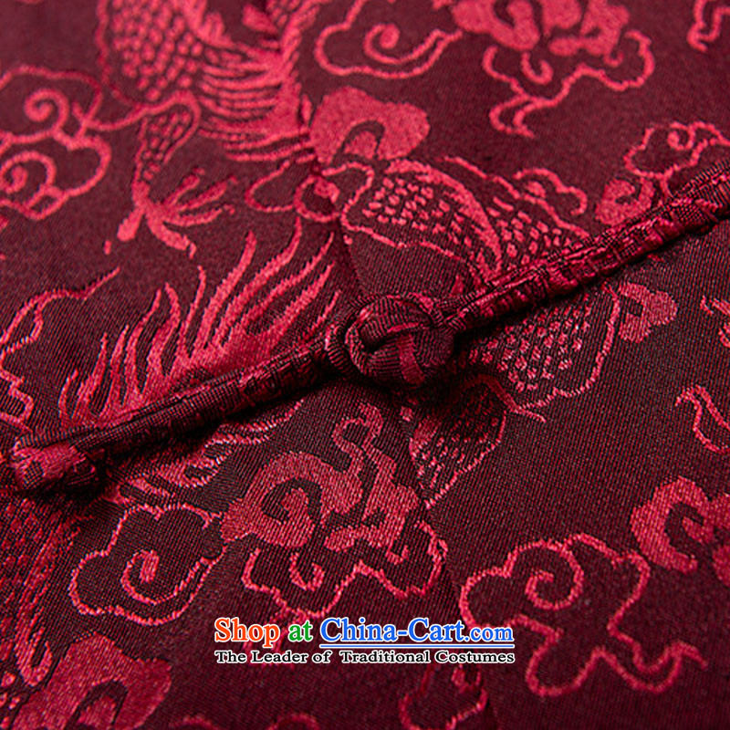 Boris poem federation short-sleeved Tang dynasty in Tang Dynasty elderly men聽by 2015 summer, emulation silk Tang blouses manually disc detained national costumes Chinese collar red聽XL/175, Tang poetry (lianbangbos Boris federation) , , , shopping on the I