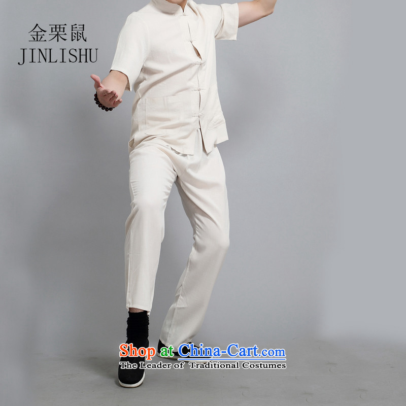 Kanaguri mouse spring China wind men Tang dynasty long-sleeved kit of older persons in the summer spring Chinese men kit beige XXL