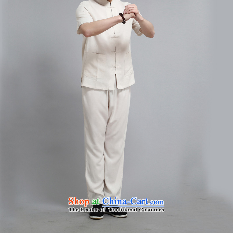 Kanaguri mouse spring China wind men Tang dynasty long-sleeved kit of older persons in the summer spring Chinese men kit beige聽XXL, kanaguri mouse (JINLISHU) , , , shopping on the Internet