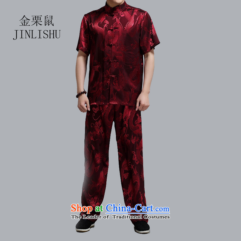 Kanaguri mouse in spring and summer men Tang Dynasty Package of older people in China wind men Chinese grandfather summer large red燲XL