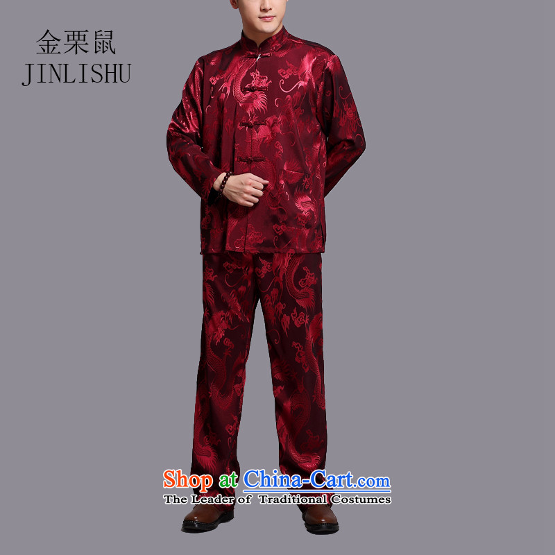 Kanaguri Mouse Tang dynasty and the spring and summer new long-sleeved jacket in Chinese father dress older men Tang Dynasty Package large red�XL