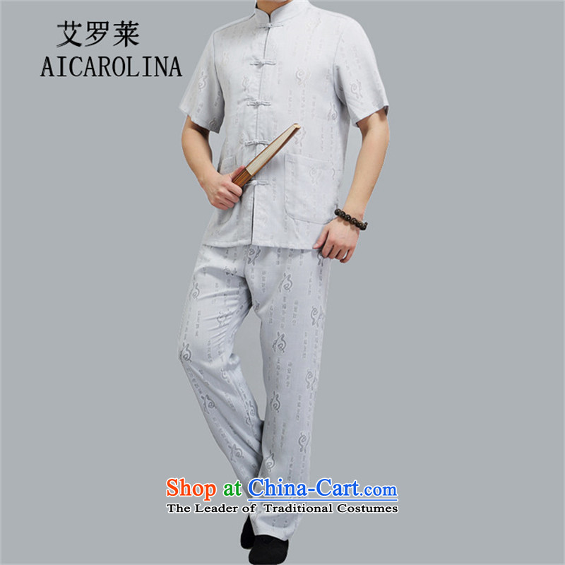 Rollet HIV Tang dynasty in the number of older men and short-sleeved middle-aged man kit Mr Tang dynasty short-sleeved Kit-ching聽XXL