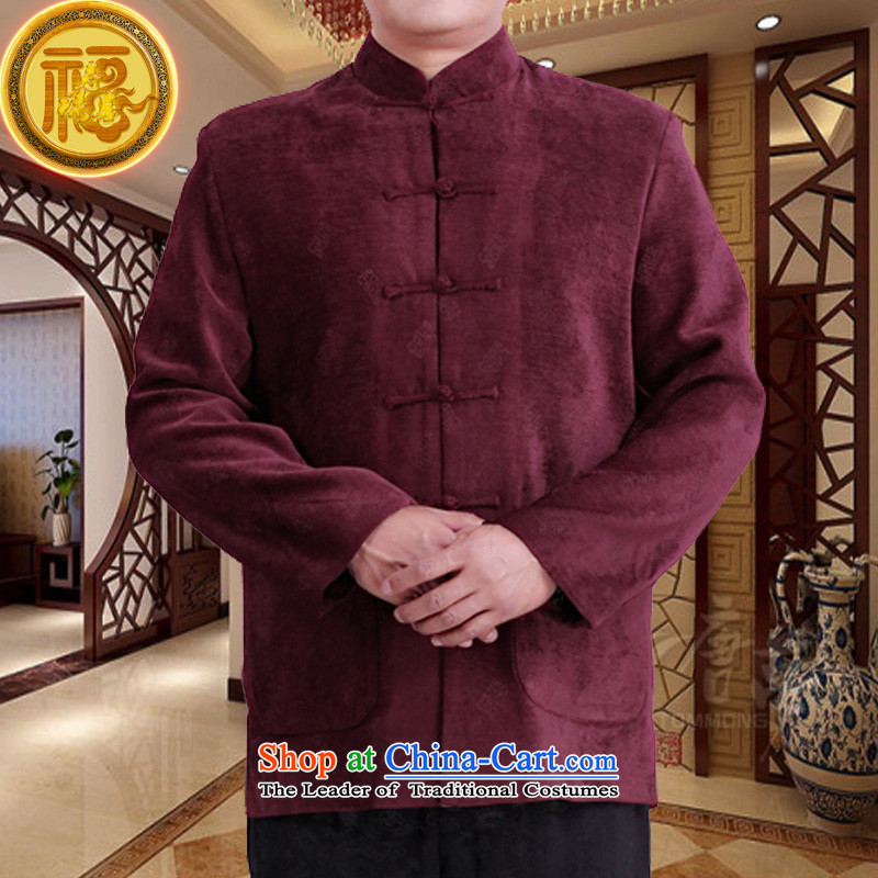 Mr Tang Dynasty poem federation male long-sleeved聽2015 New China wind spring and autumn in consultations over the life of older birthday wearing Chinese father jackets Red聽170