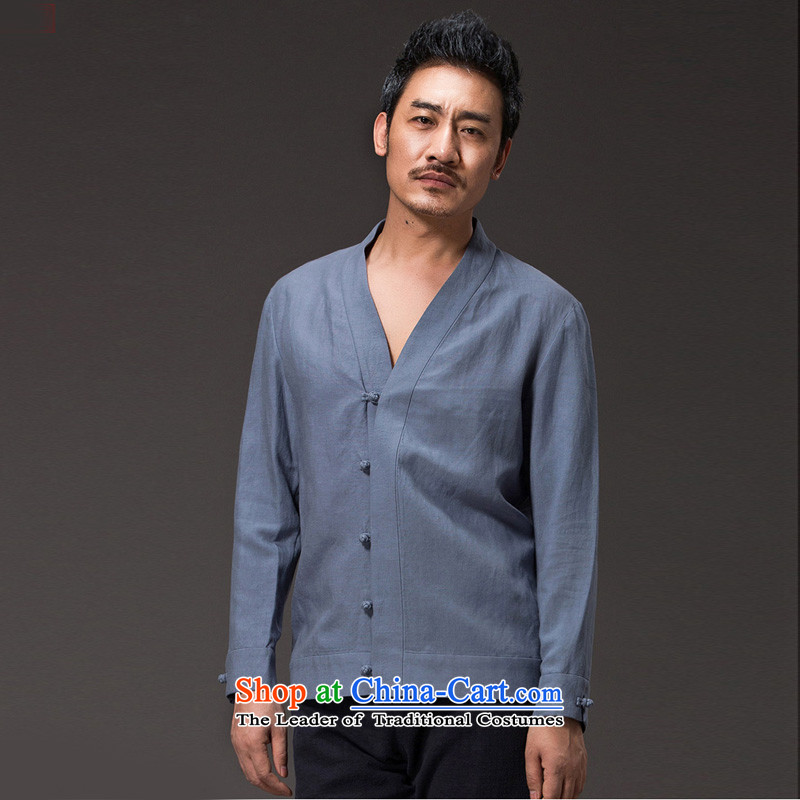 Renowned China wind men men Tang Dynasty Chinese men and a long-sleeved Tencel Ma Han-meditation services in 2,005 Chinese (L)/170 Jacket