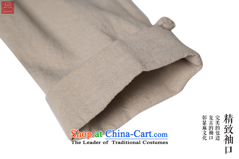 Renowned China wind men cotton linen garments of ethnic Chinese shirt men Sau San disk tie long sleeved shirt collar of the Chinese Tang dynasty improved rice white L picture, prices, brand platters! The elections are supplied in the national character of distribution, so action, buy now enjoy more preferential! As soon as possible.