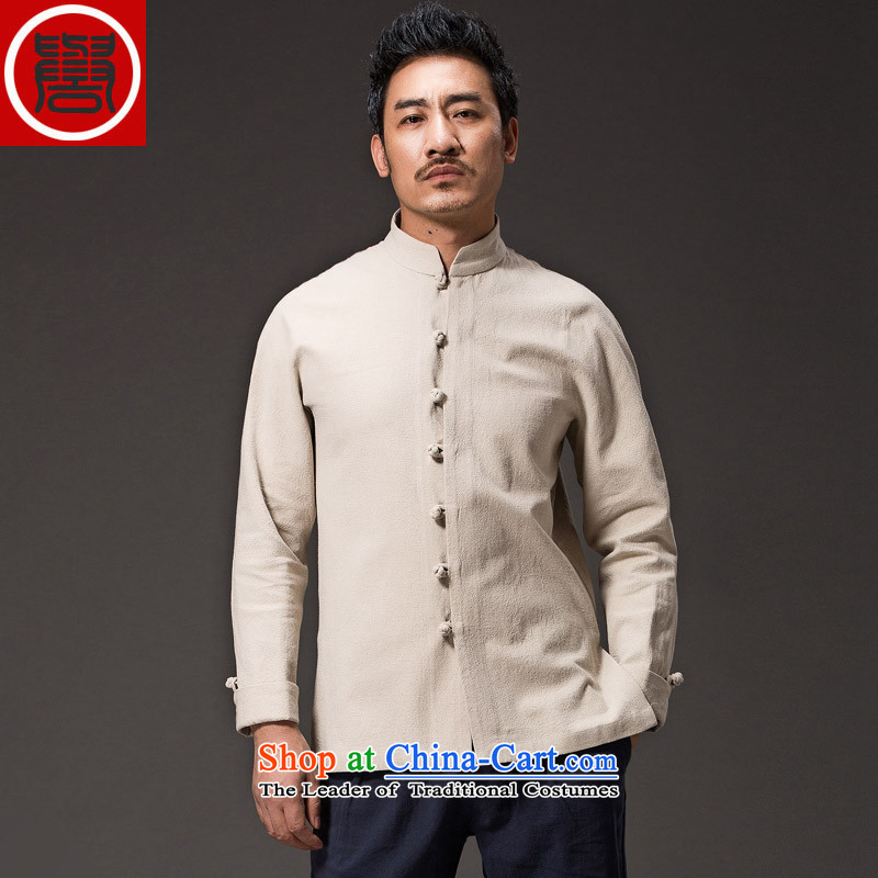 Renowned China wind men cotton linen garments of ethnic Chinese shirt men Sau San disk tie long sleeved shirt collar of the Chinese Tang dynasty improved rice white�L