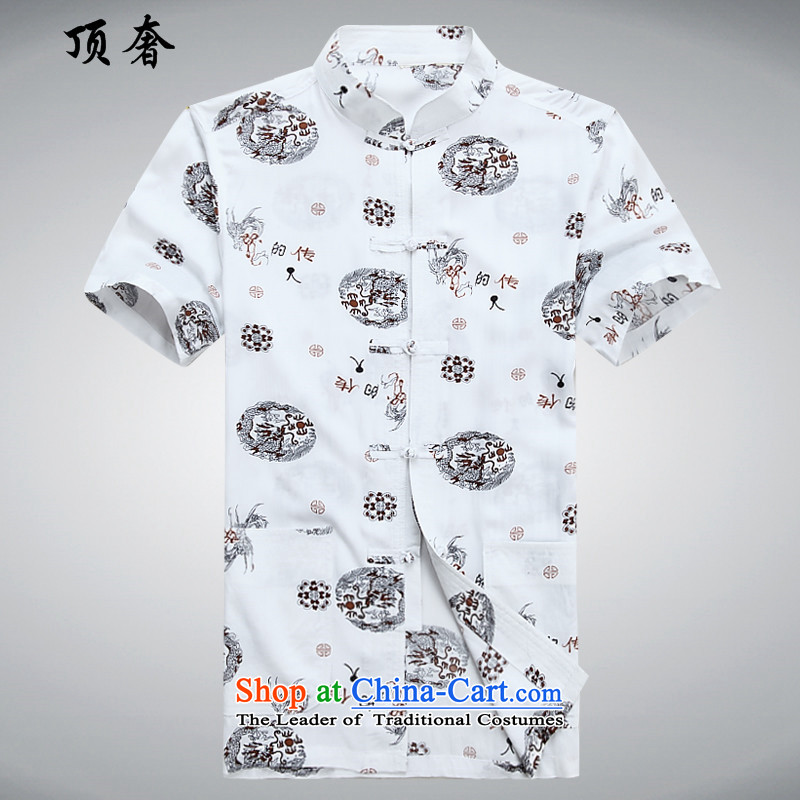 Top Luxury men Tang Dynasty Short-Sleeve Mock-Neck Chinese national costumes disc is older large spring and summer short-sleeved shirt,  China National costume of older persons for summer and elegant white?170