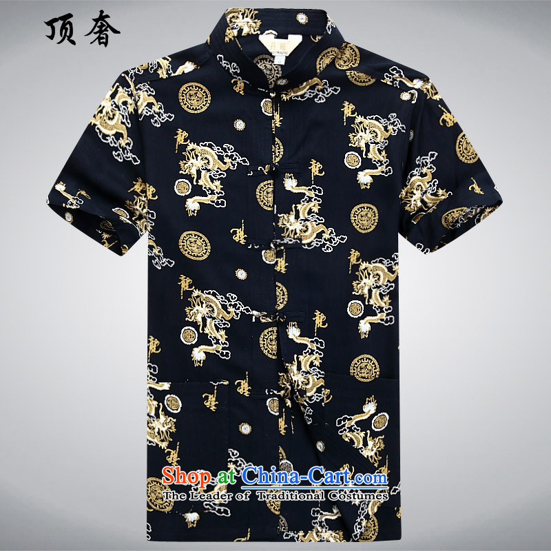 Top Luxury?spring and summer 2015 Men's Mock-Neck) low short-sleeved shirts in Tang older shirt with tray clip China wind national dress summer load and Kim Ho father?180