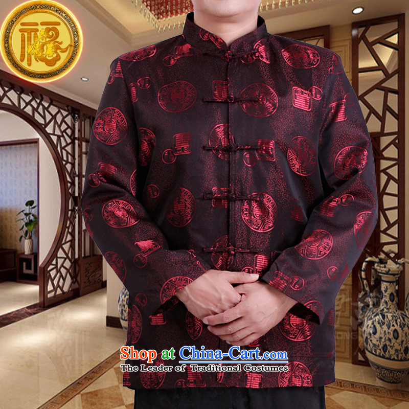 Mr Tang Dynasty poem federation male long-sleeved聽2015 New China wind spring and autumn in consultations over the life of older birthday wearing Chinese father jackets Red聽185