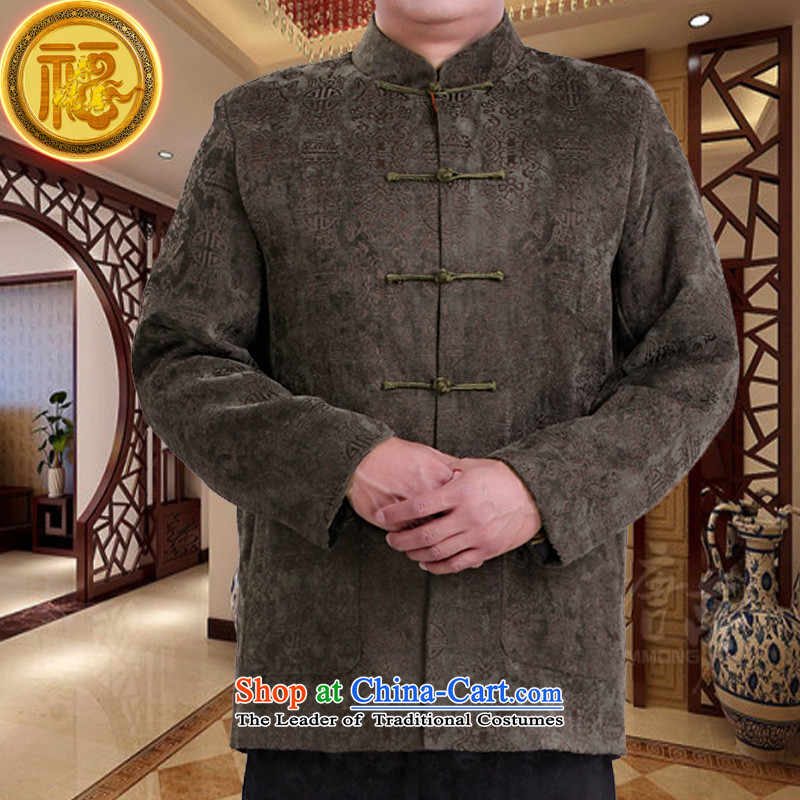 Mr Sze Chun Tang Federation replacing men long-sleeved 2015 new high-end scouring pads in the consultations the sushi clothing birthday older Chinese father jackets Green 175