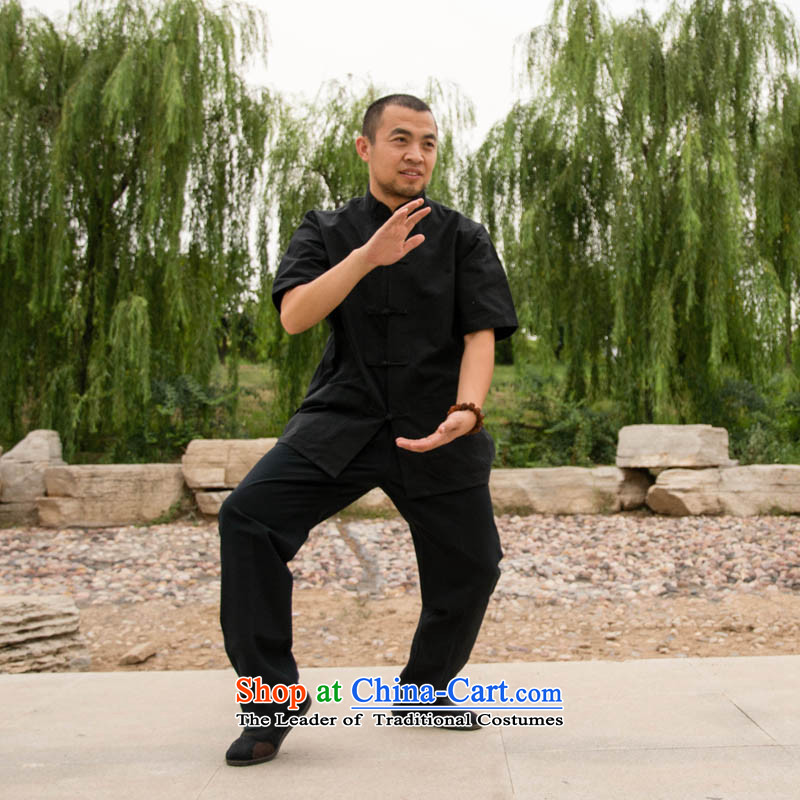 Cubufq pure cotton short-sleeved Tang Dynasty Tang Dynasty Pure Cotton Men and women serving exercise clothing performances Taegeuk jogs services services Chinese clothing multi-color black short-sleeved Tang dynasty?165/39