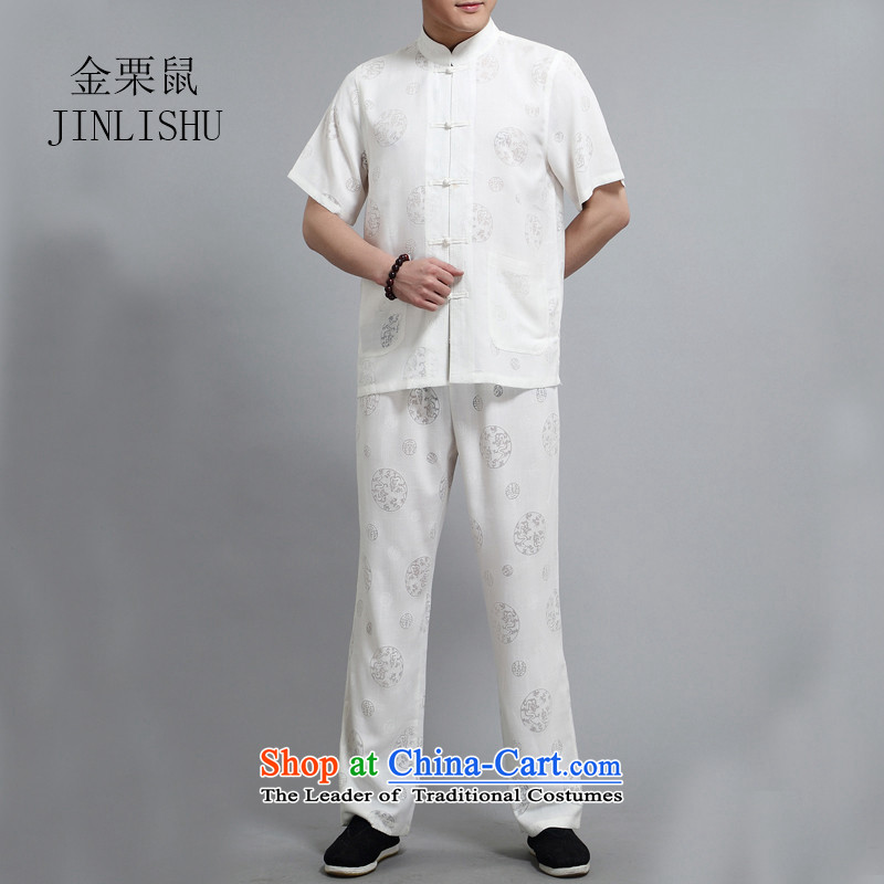 Kanaguri mouse linen men Tang Dynasty Package short-sleeved shirt summer manually disc detained Chinese national costumes聽XXXL comfortable white