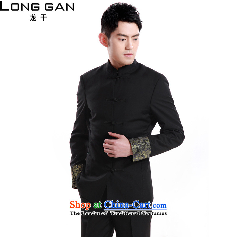 Dragon dry Tang Dynasty Chinese tunic collar suits suits China wind Han-Sau San MEN CASUAL?L_175 black