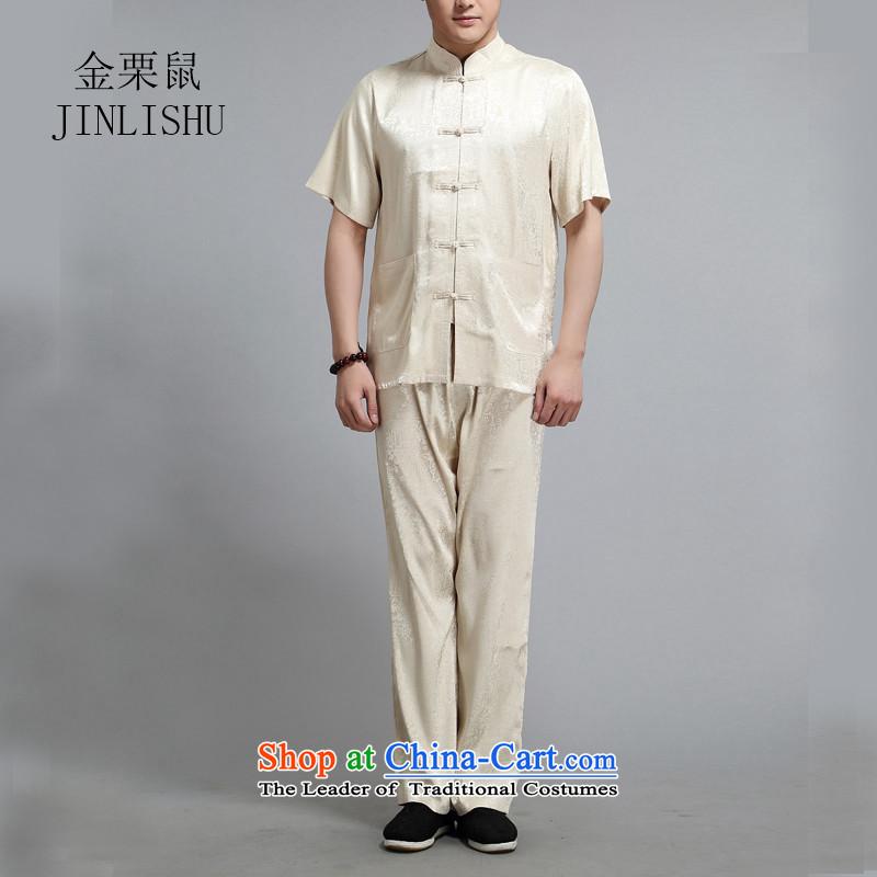 Kanaguri mouse spring men Tang Dynasty Package short-sleeved shirt Chinese national costumes in Tang Dynasty older gold燣
