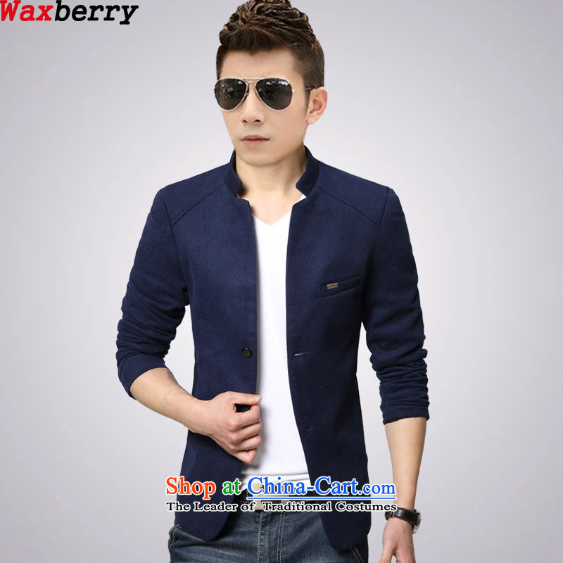 Waxberry 2015 autumn and winter new Korean Mock-neck England s Chinese tunic suit small single leisure red men gross? Will suit for Sau San dark blue?185/3XL?suitable for 150 catties of