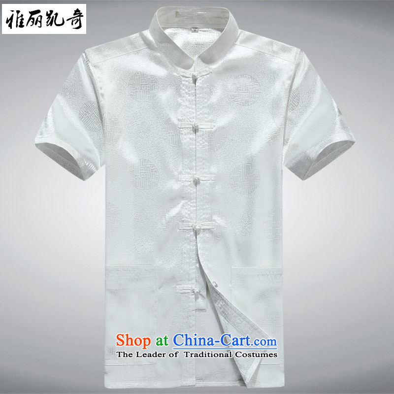 Alice Keci?2015 new middle-aged men short-sleeved Tang Dynasty Package Xia men of Chinese national costumes load larger players grandpa exercise clothing pure white T-shirt?165