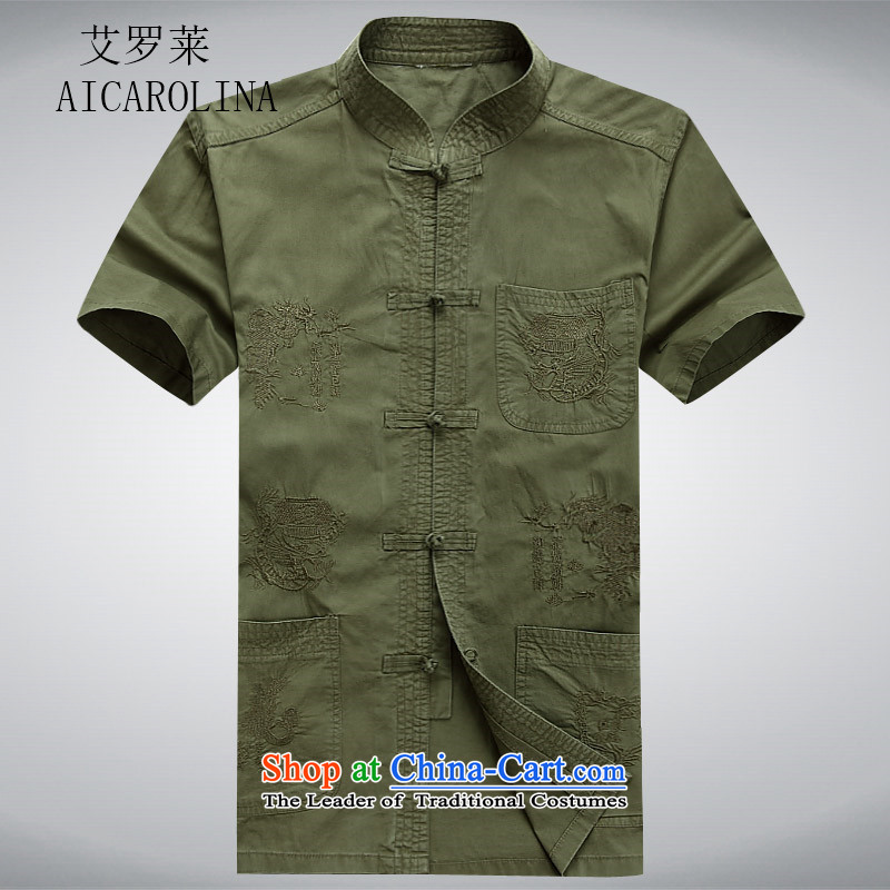 Rollet HIV Tang dynasty in the number of older men and short-sleeved T-shirt exercise clothing cotton father jackets cardigan dark green?M