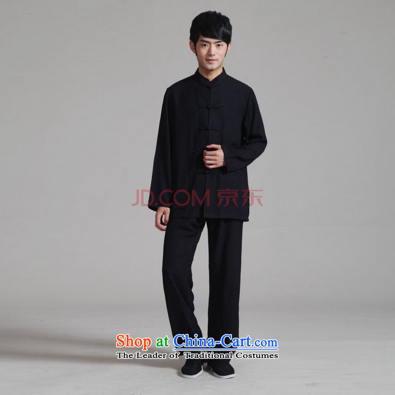 On optimizing ipo men Tang dynasty long-sleeved Kit Mock-Neck Shirt cotton linen kung fu tai chi Services聽- 1 black聽L