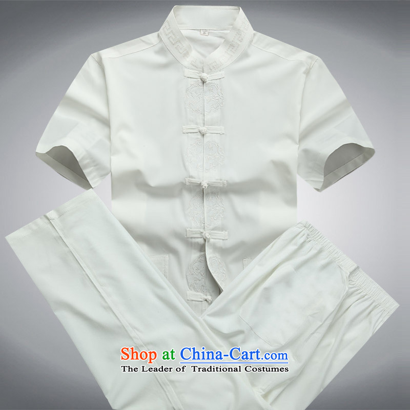 Hiv Rollet men short-sleeved T-shirt kit male summer cotton Tang dynasty short-sleeved shirt increase male White Kit?L