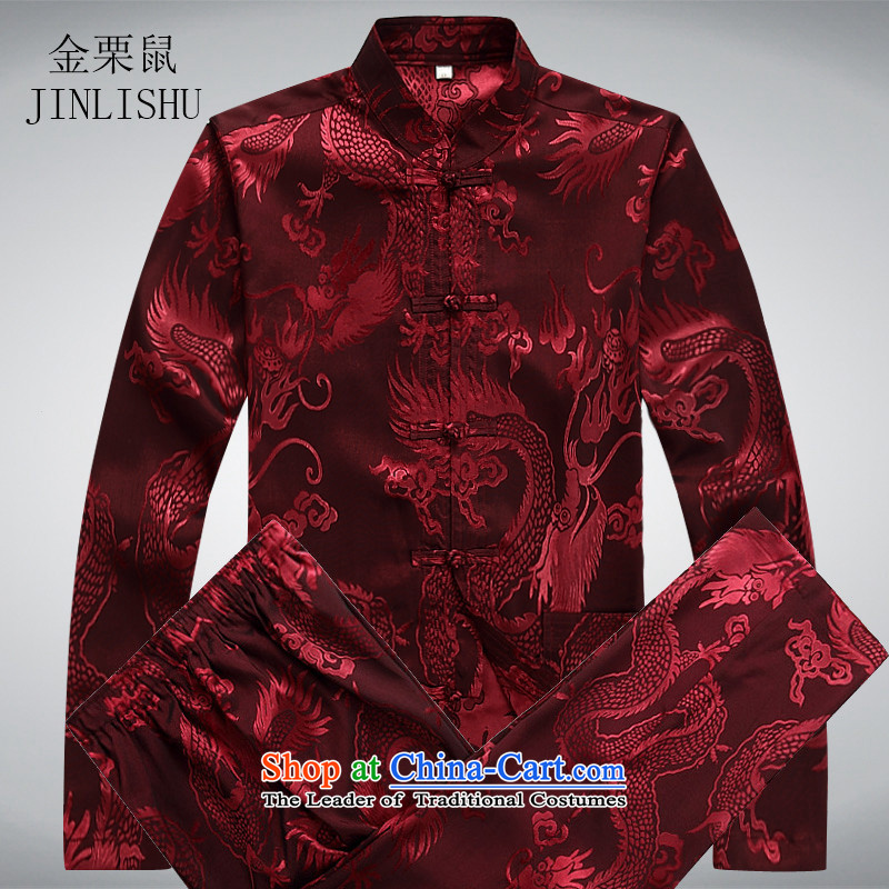 Kanaguri mouse spring men Tang Dynasty Package long-sleeved shirt national costumes in Chinese elderly Tang red kit?M