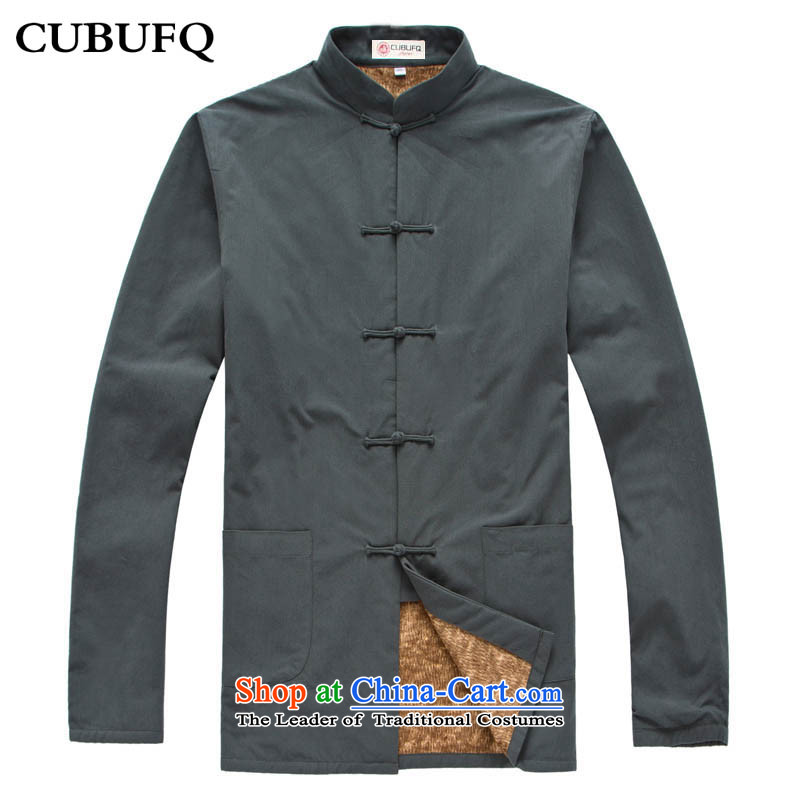 Old folk weave genuine cubufq pure cotton warm long-sleeved men Tang add lint-free thick men's solid color gray?180_42 Tang Dynasty