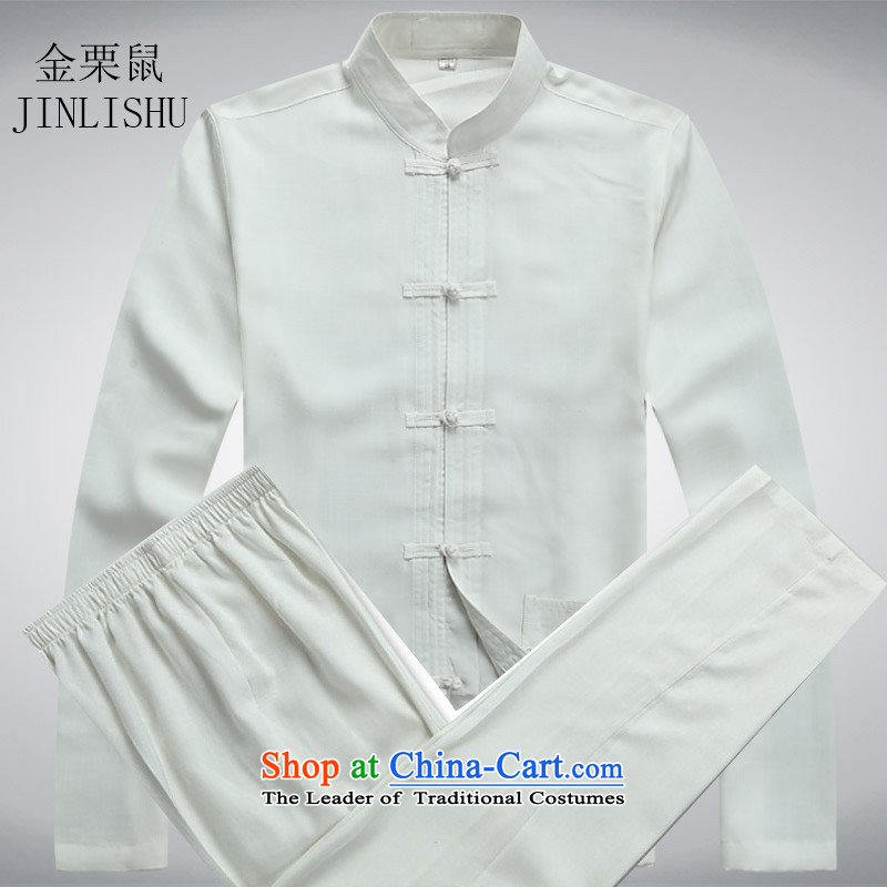 Kanaguri mouse spring linen men Tang dynasty and long-sleeved kit of older persons in the summer of Chinese grandfather white?XXXL Kit