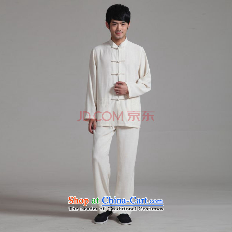Ms Au King Mansion to?2015 men Tang Dynasty Package long-sleeved Mock-Neck Shirt cotton linen Kung Fu Tai Chi Kit?- 2m White Kit?M