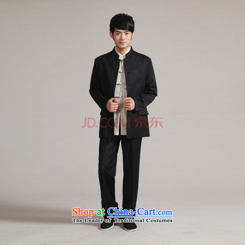 Ms Au King Mansion to Men's Mock-Neck Korean Chinese tunic suit coats the bridegroom wedding dresses Sau San Kit?- 1 black?XXXL